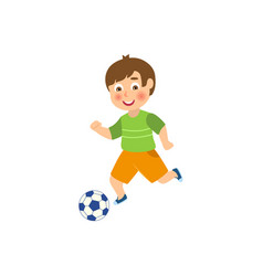 flat boy character playing football vector image