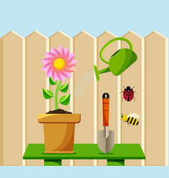 flower cartoon gardening set vector image