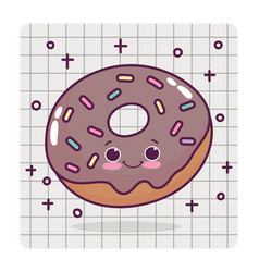 Food cute chocolate donut love heart cartoon vector