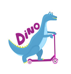 funny dinosaur riding a scooter cartoon character vector image