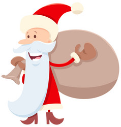 funny santa claus cartoon character with sack vector image