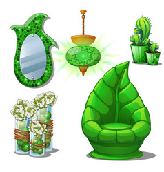 furniture set green colour for the interior on the vector image