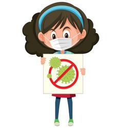girl wearing mask and holding stop coronavirus vector image