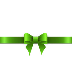 Green bow with ribbons on white background vector