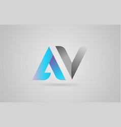 Grey blue alphabet letter av a v logo icon design vector