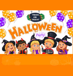 halloween party design with cute kids in hat vector image