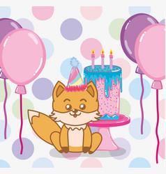happy birthday fox vector image