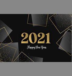 happy new year 2021 gold glitter frame luxury card vector image