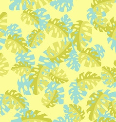 Hawaiian seamless pattern with Monstera leaves vector