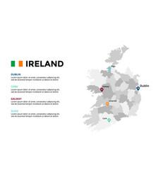 Ireland map infographic template slide vector