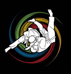 judo action cartoon graphic vector image