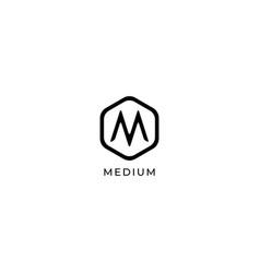 Letter m logo design template hexagon logo vector