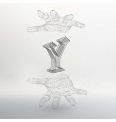 Letter Y and hand of lines vector
