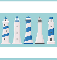 Light house icons collection set 2 vector