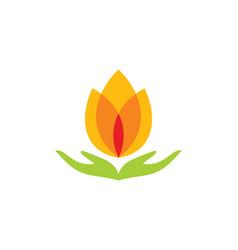 Lotus flower meditation spa logo vector