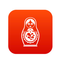 matryoshka icon digital red vector image