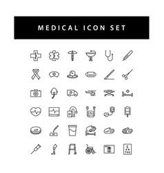 medical dental icon set with black color outline vector image