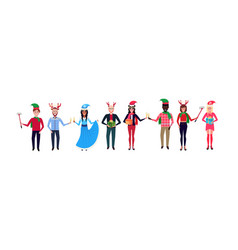 Mix race people wearing different costumes vector