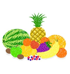 Mixed fruit paint drawing vector