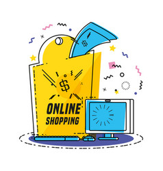 monitor computer with shopping online concept vector image