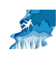 Mountaineering in paper art vector