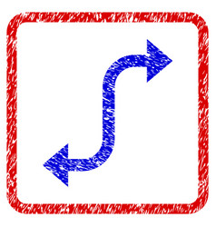 Opposite bend arrow grunge framed icon vector