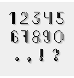 Original curved numerals and punctuations set vector