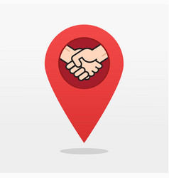 partnership office map pin pointer icon flat vector image