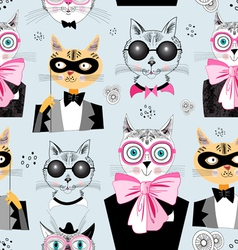 Pattern cats hipsters vector