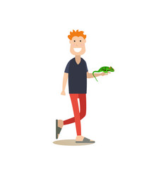 Pet owner with his green lizard iguana flat vector