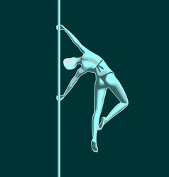 Pole dance silhouette vector