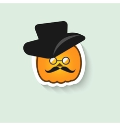 Pumpkin hipster round glasses and hat vector image