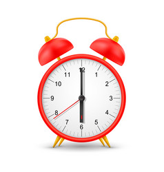 red alarm clock isolated realistic 3d mockup vector image