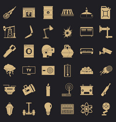 Save energy icons set simple style vector