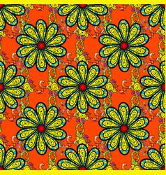 Seamless flowers pattern flowers on orange black vector