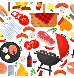 seamless pattern barbecue bbq party grill vector image