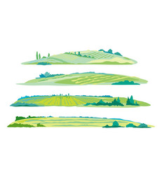 Set of agricultural fields isolated vector