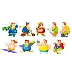set of funny fat man sport vector image