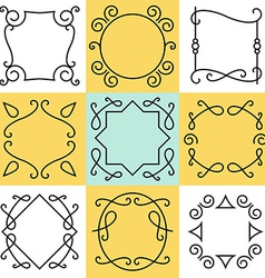 set of outline borders and frames abstract vector image