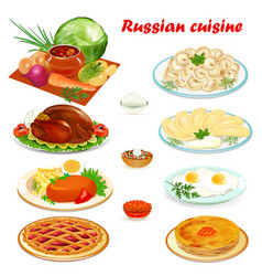 set of russian cuisine with soup dumplings vector image