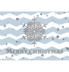 Silver snowflake and inscription Merry Christmas vector