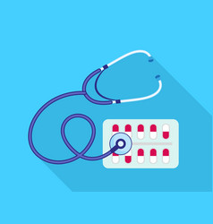 stethoscope drug pill pack icon flat style vector image