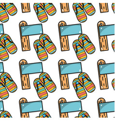 surfboard with flip flops background icon vector image