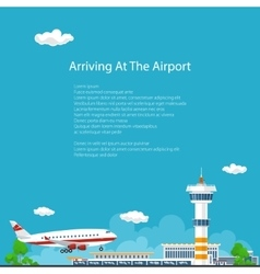 The Plane Arrives at the Airport Travel Concept vector