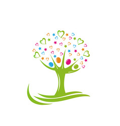 Tree people stars and hearts logo vector