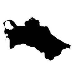 turkmenistan - solid black silhouette map of vector image