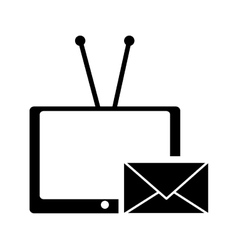 tv with antenna and envelope message icon vector image