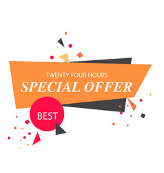 twenty four hours special offer orange white backg vector image