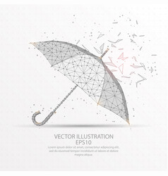 umbrella low poly wire frame on white background vector image