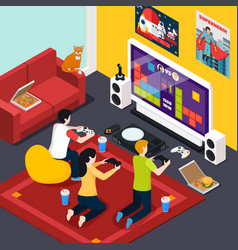 Video gaming isometric composition vector